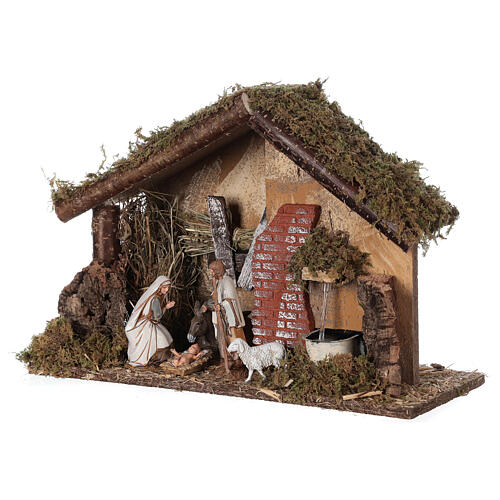 Stable with fountain 35x15x25 cm for Nativity scenes with 10 cm figurines 3