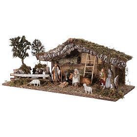 Cabane avec enclos et arbres 55x25x20 cm crèche 10 cm s4