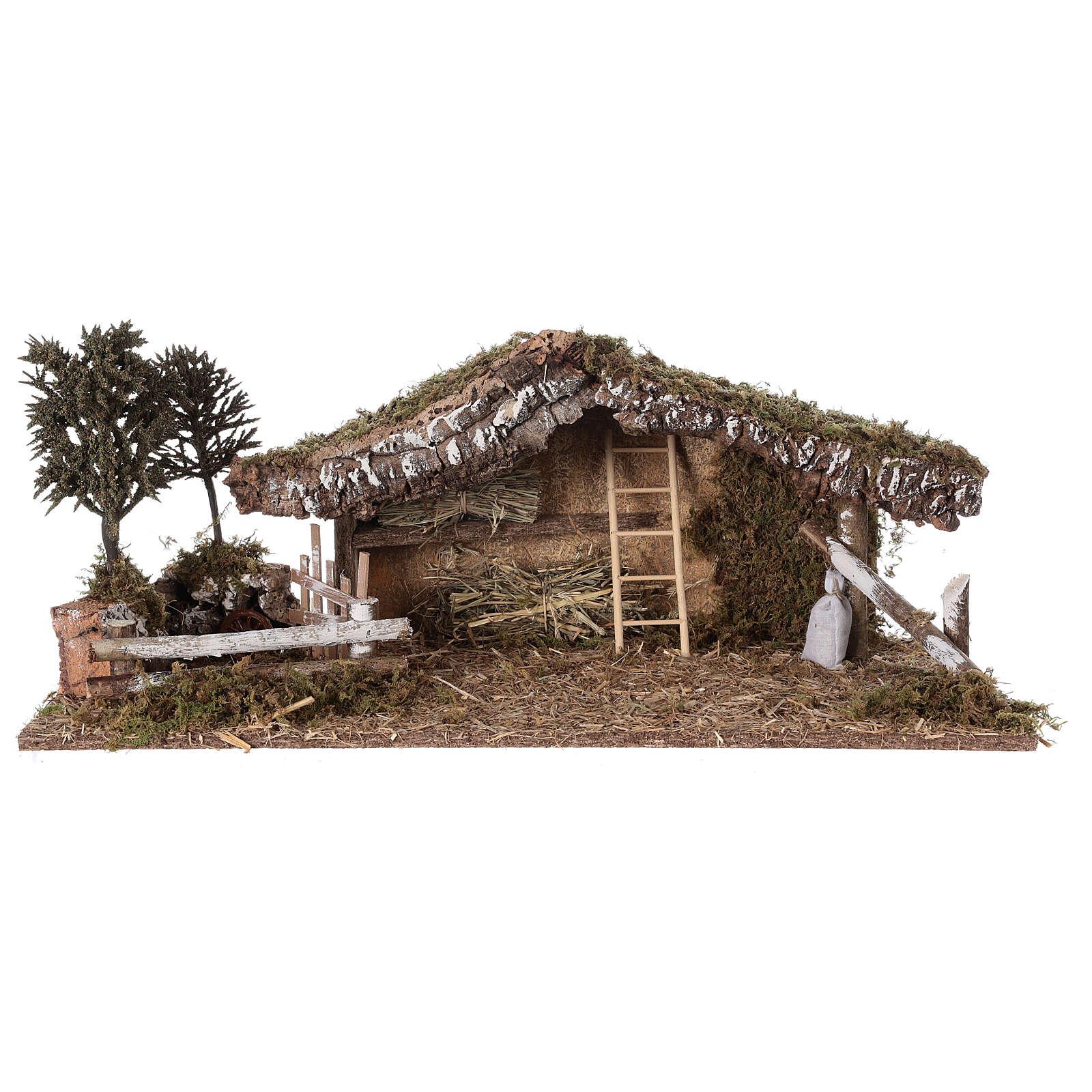 Capanna con recinto e alberi 55x25x20 cm presepe 10 cm 4