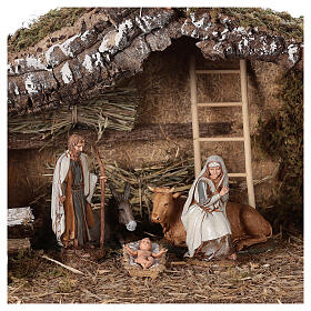Stable with fence and trees 55x25x20 cm for Nativity scenes with 10 cm figurines s2