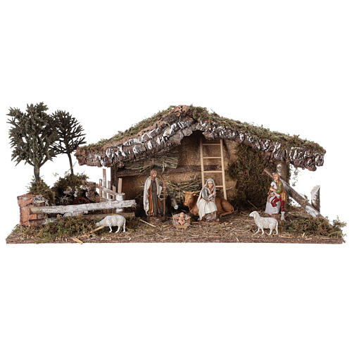 Stable with fence and trees 55x25x20 cm for Nativity scenes with 10 cm figurines 1