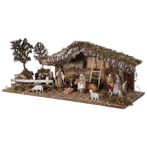 Stable with fence and trees 55x25x20 cm for Nativity scenes with 10 cm figurines 4
