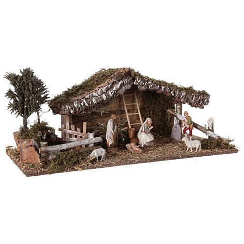 Stable with fence and trees 55x25x20 cm for Nativity scenes with 10 cm figurines 5