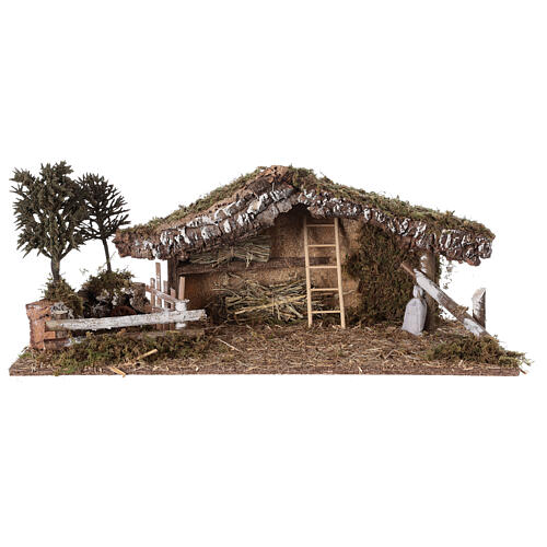 Stable with fence and trees 55x25x20 cm for Nativity scenes with 10 cm figurines 6