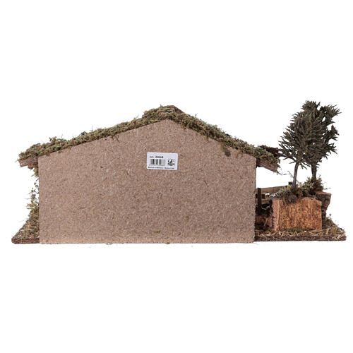 Stable with fence and trees 55x25x20 cm for Nativity scenes with 10 cm figurines 7
