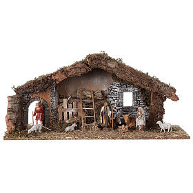 Barn with arch 55x20x25 cm for Nativity scenes with 10 cm figurines s1