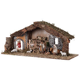Barn with arch 55x20x25 cm for Nativity scenes with 10 cm figurines s4