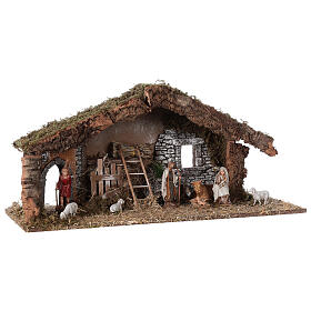 Barn with arch 55x20x25 cm for Nativity scenes with 10 cm figurines s5