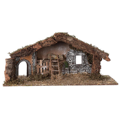 Barn with arch 55x20x25 cm for Nativity scenes with 10 cm figurines 6