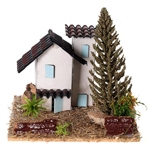 Casas em miniatura estilo provençal para presépio 13x13x13 cm 1