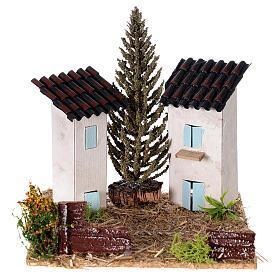 Duas casas em miniatura estilo provençal para presépio 13x13x13 cm s1
