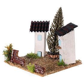 Duas casas em miniatura estilo provençal para presépio 13x13x13 cm s2