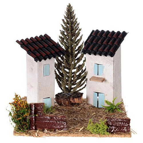 Duas casas em miniatura estilo provençal para presépio 13x13x13 cm 1