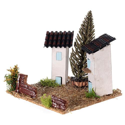 Duas casas em miniatura estilo provençal para presépio 13x13x13 cm 2
