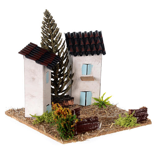 Duas casas em miniatura estilo provençal para presépio 13x13x13 cm 3