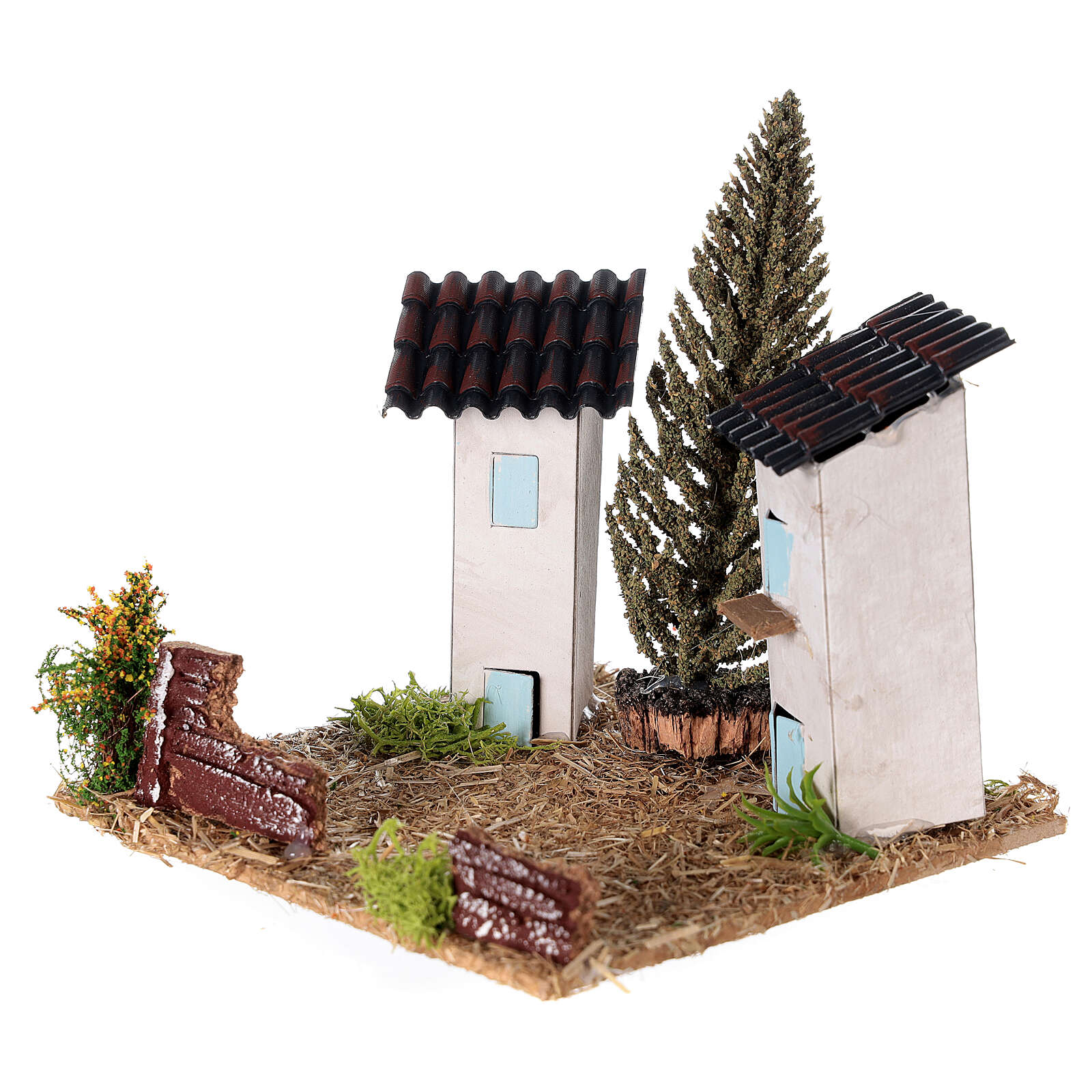 Couple of houses provençal style 10x10x10 cm for Nativity scene 4