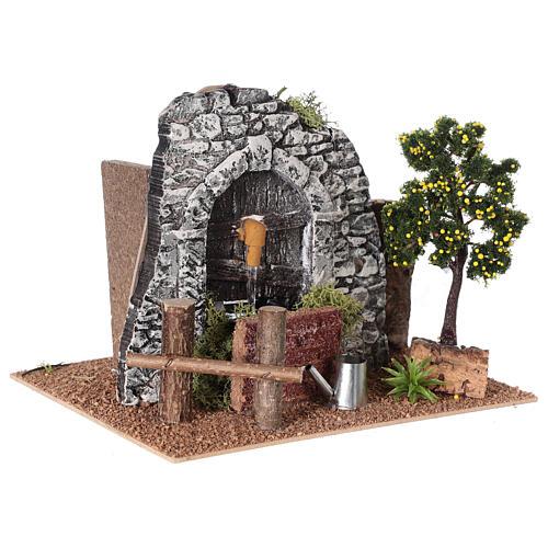 Fontaine en plâtre avec arbre pour crèche 20x15x15 cm 3