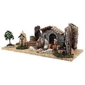 Fazenda estilo provençal com figuras presépio de Natal altura média 10 cm; medidas: 55x24x21 cm s3