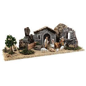 Fazenda estilo provençal com figuras presépio de Natal altura média 10 cm; medidas: 55x24x21 cm s5