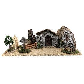 Fazenda estilo provençal com figuras presépio de Natal altura média 10 cm; medidas: 55x24x21 cm s9