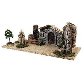Fazenda estilo provençal com figuras presépio de Natal altura média 10 cm; medidas: 55x24x21 cm s10