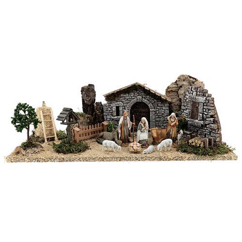 Fazenda estilo provençal com figuras presépio de Natal altura média 10 cm; medidas: 55x24x21 cm 1