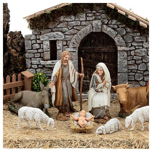 Fazenda estilo provençal com figuras presépio de Natal altura média 10 cm; medidas: 55x24x21 cm 2