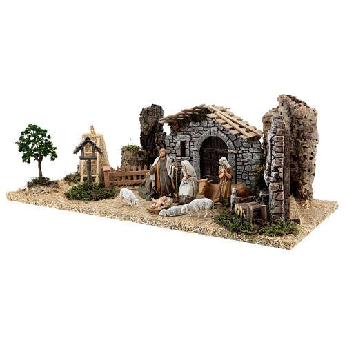 Fazenda estilo provençal com figuras presépio de Natal altura média 10 cm; medidas: 55x24x21 cm 3