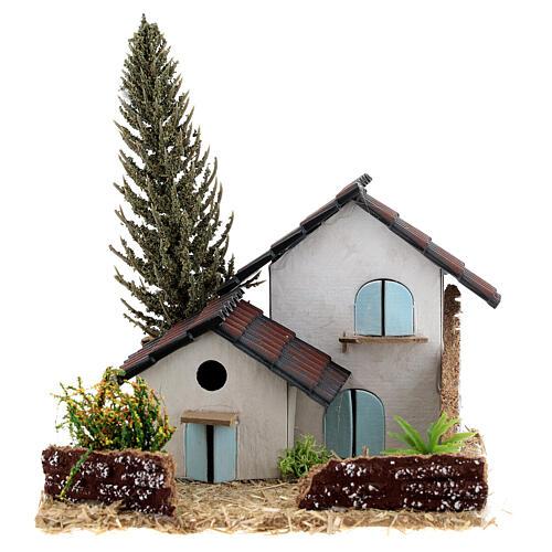 Grupo de casas em miniatura estilo provençal 13x13x13cm 1