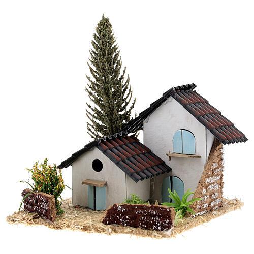 Grupo de casas em miniatura estilo provençal 13x13x13cm 2