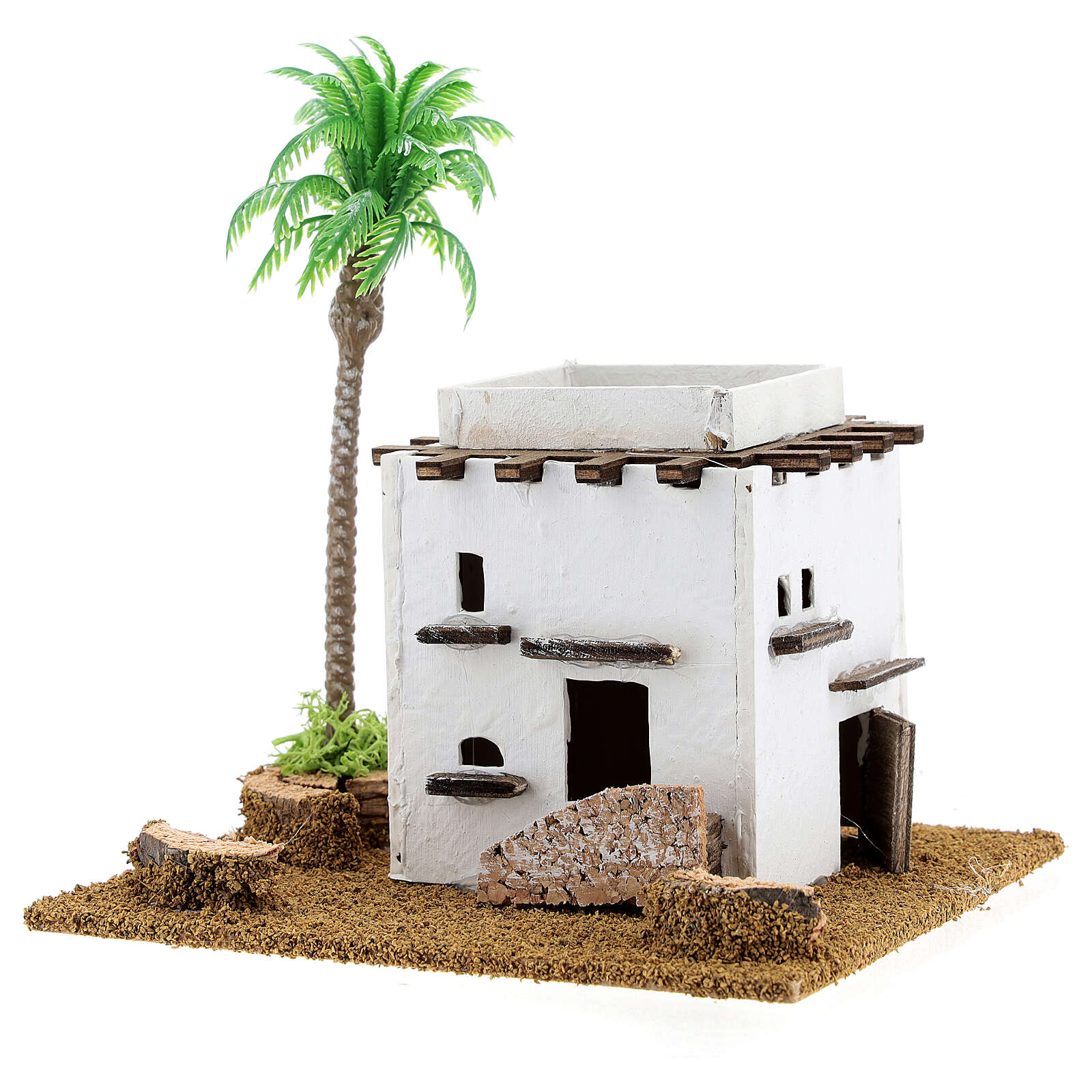 Arabic style cottage with palm tree for Nativity scene, size 13x12x15cm 4