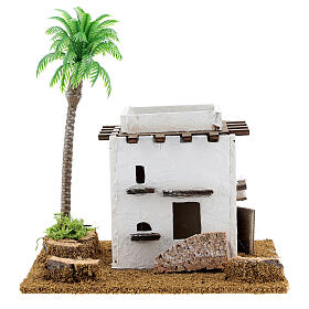 Arabic style cottage with palm tree for Nativity scene, size 13x12x15cm s1