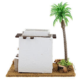 Arabic style cottage with palm tree for Nativity scene, size 13x12x15cm s4