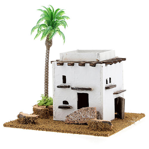 Arabic style cottage with palm tree for Nativity scene, size 13x12x15cm 2