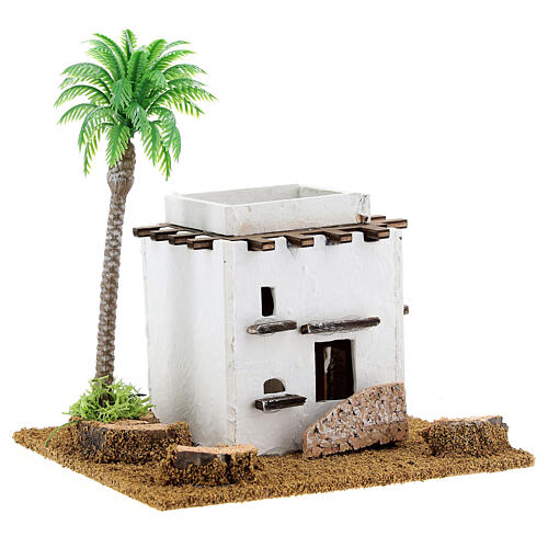 Arabic style cottage with palm tree for Nativity scene, size 13x12x15cm 3