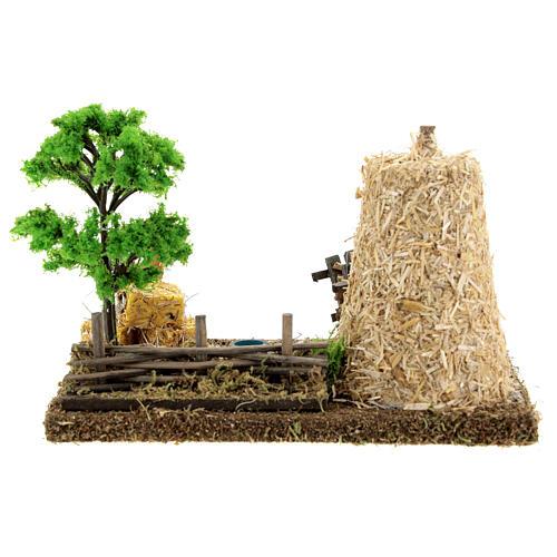 Cenário presépio campo com palheiro; medidas: 19x15x13 cm 4