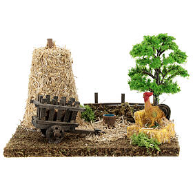 Nativity scene decor: vegetable garden corner with barn 20x15x15 cm s1