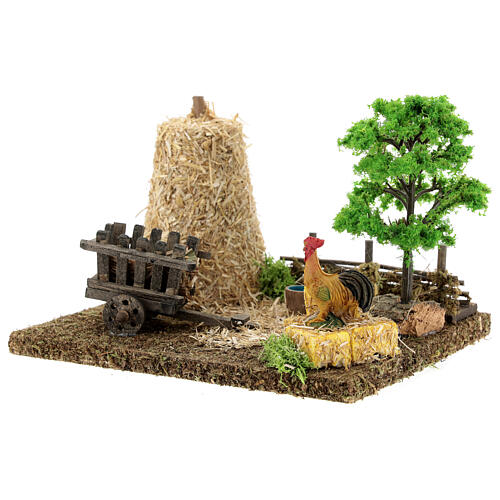 Nativity scene decor: vegetable garden corner with barn 20x15x15 cm 2