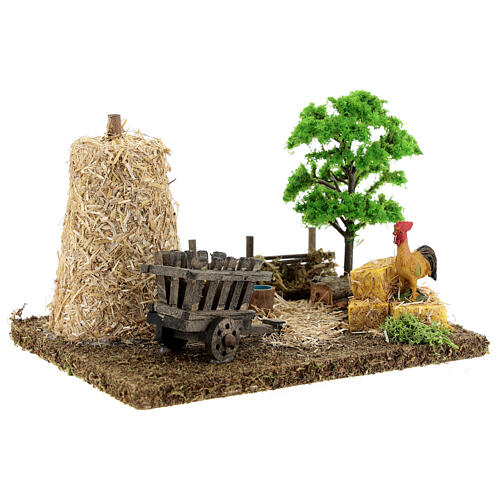 Nativity scene decor: vegetable garden corner with barn 20x15x15 cm 3