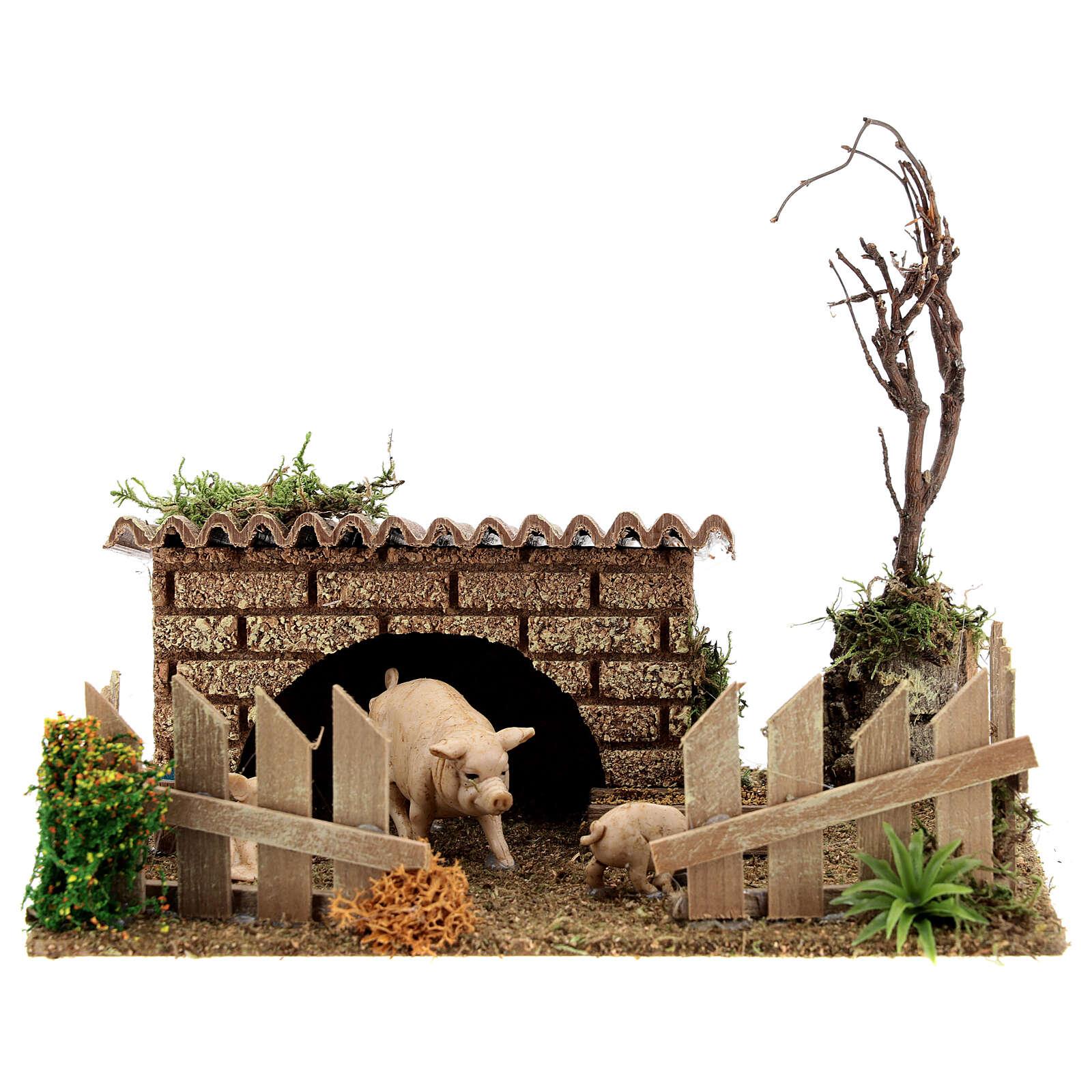 Pocilga miniatura para presépio de Natal; medidas: 19x16x16 4