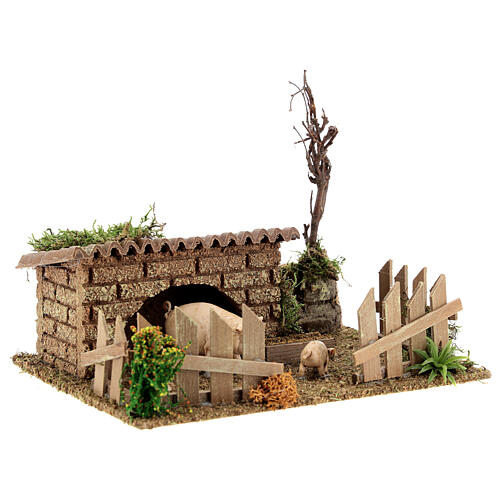 Pigsty for DIY nativity scene 20x15x15 cm 3