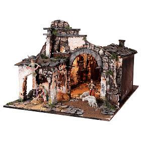 Village for Nativity scene in medieval style of dimensions 56x77x48 cm s3