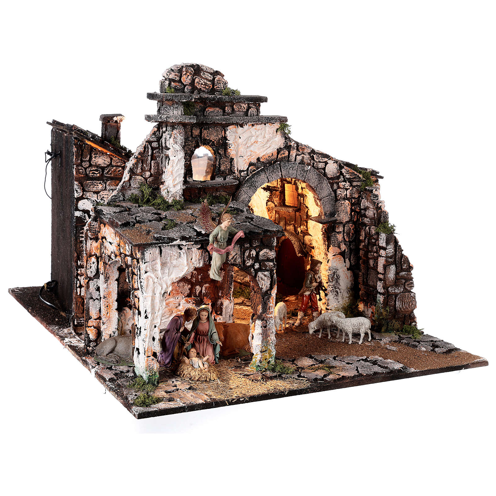 Pueblo medieval 55x80x50 cm con espejo y estatuas 12 cm 4