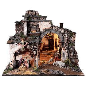 Village médiéval 55x80x50 cm avec miroir et statues 12 cm s1
