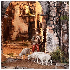 Village médiéval 55x80x50 cm avec miroir et statues 12 cm s4