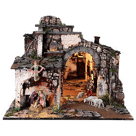 Aldeia medieval com espelho e figuras altura média 12 cm; medidas: 56x77x48 cm s1