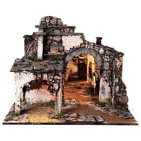 Aldeia medieval com espelho e figuras altura média 12 cm; medidas: 56x77x48 cm s10
