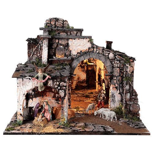 Aldeia medieval com espelho e figuras altura média 12 cm; medidas: 56x77x48 cm 1