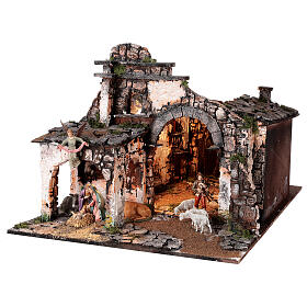 Medieval hamlet 55x80x50 cm with mirror and 12 cm figurines s3