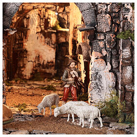 Medieval hamlet 55x80x50 cm with mirror and 12 cm figurines s4